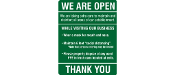 WE ARE OPEN 8.5 X 11 Sign for COVID display