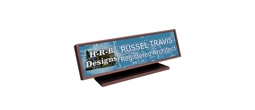 Full color name plates suitable for logos, graphics or photos with an attractive, framed display stand.