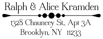 Custom self-inking address stamp with art text and accents.