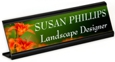 Full color name plates suitable for logos, graphics or photos with an attractive display stand.