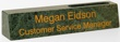 """DMCPG - Marble Desk Sign with  Cardholder Green 2"""" x 10-1/2"""""""
