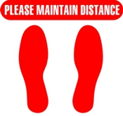 Social Distancing vinyl floor marker with foot prints and Maintain Distance