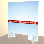 """COUNTER TOP ACRYLIC SHIELD 28"""" X 30"""" for distancing and customer safety"""