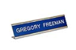Laser engraved name plates in a variety of color options with attractive display stand.