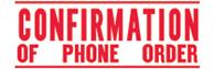 SHA3214 - SHA3214 - Jumbo Stock Stamp - CONFIRMATION OF PHONE ORDER